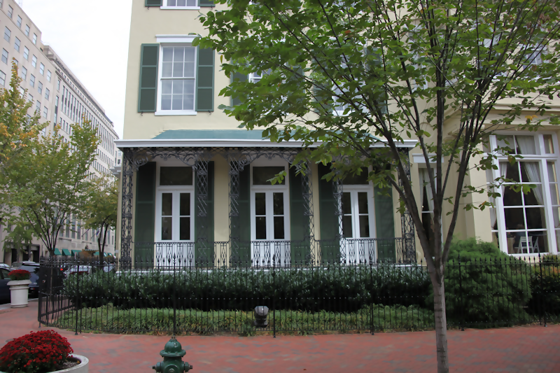 A color photograph of the exterior of the Cutts Madison house, where you might see ghost Dolly Madison waving form the porch