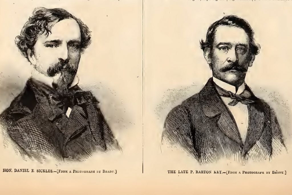 A hand drawn print of two men, Hon Daniel E. Sickles and The late P. Barton Key - from a photograph by Brady. One of these men dies, and haunts Lafayette Square park as a ghost