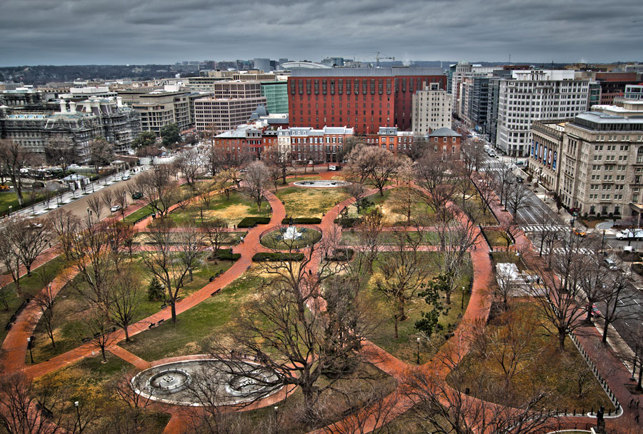 A vivid arial photograph of modern day Lafayette Square taken from the East, looking west. Not visible are the several ghosts in the park