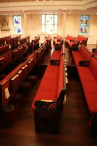 A photo of the interior of St John's Episcopal Church, Lafayette Square Washington D.C. Is this the pew that ghosts frequent?