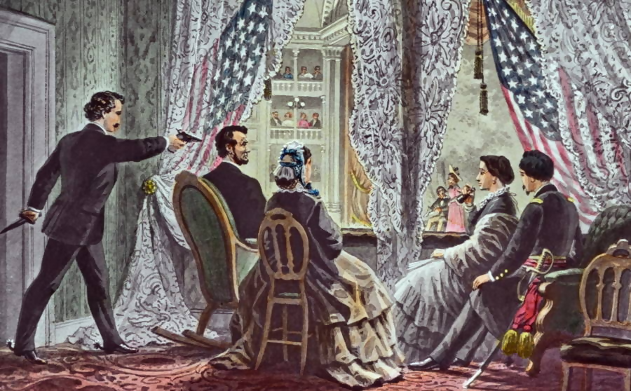 A painting of the presidents box at Ford's Theatre, with Wilkes-Booth aiming a gun at the back of Lincolns head, the place his ghost still walks.