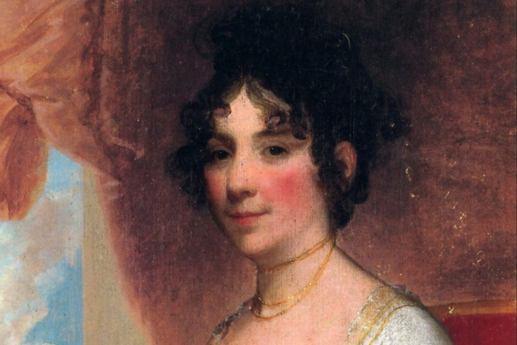 A colorful portrait painting of Dolly Madison, first lady, hostess and ghost that haunts the Cutts-Madison house in Washington D.C.