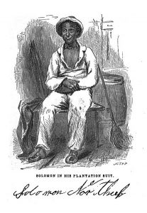 Drawing of Solomon Northup in his plantation suit