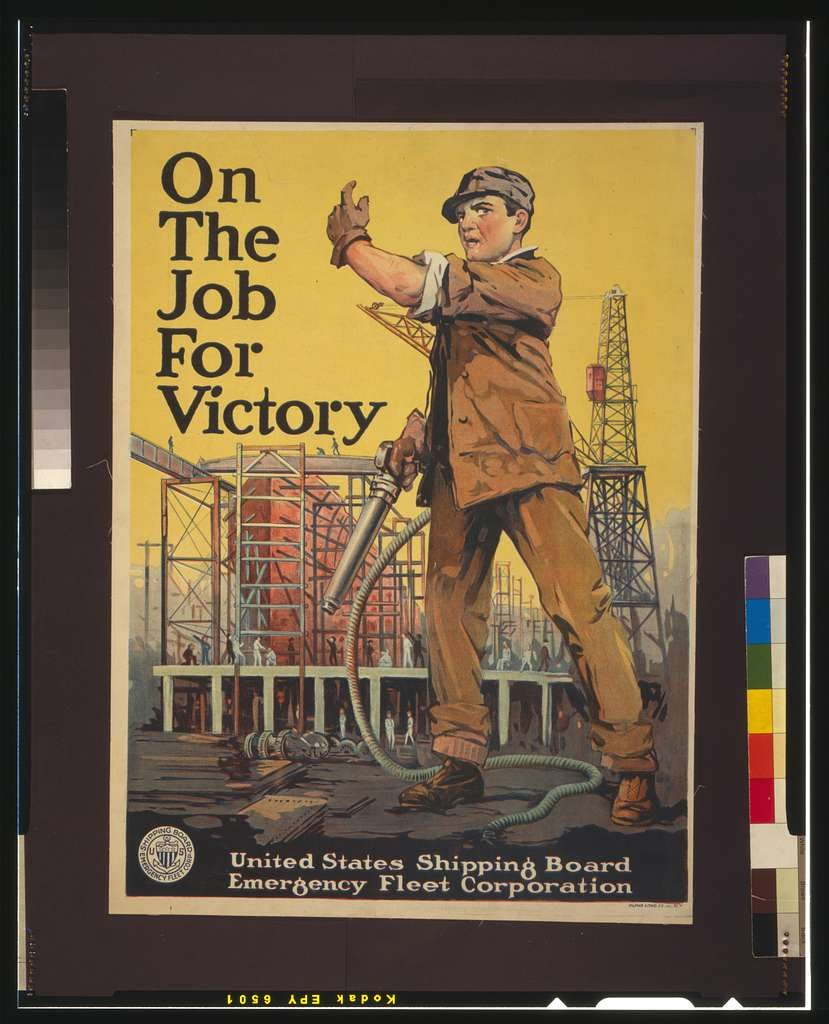 "A vintage Shipbuilder poster stating ""On the job for Victory,"" most likely the ships of the Ghost Fleet"