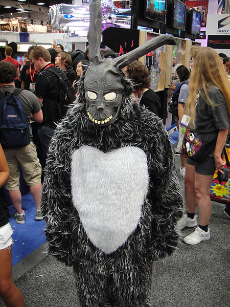 A piciture of a person in a creepy grey bunny suit
